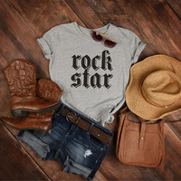 Rock Star T-shirt, Rock Shirt, Heavy Metal Tees, Rock Fan Gift, Rock and Roll Clothes, Retro Tshirt, Boho Top, Music Tees, Music Lover Gifts