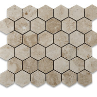 "Cappuccino Marble Polished 2"" Hexagon Mosaic Tile"