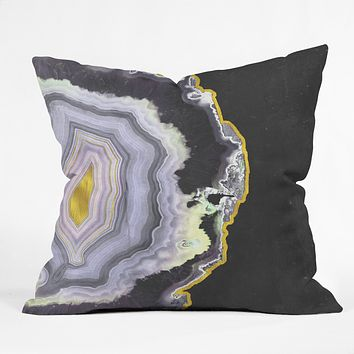 Emanuela Carratoni Black and Gold Agate Throw Pillow