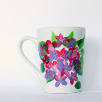 Pink and Purple Hydrangea Personalized Coffee Cup - Hand Painted Flowers Coffee Mugs - Floral Kitchen Decor - Mother's Day Gift,  Set of 4