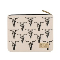 Alola - Cow Skull Clutch | Black on Natural Canvas