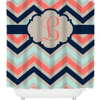 Chevron Coral Navy Aqua SHOWER CURTAIN Custom MONOGRAM Personalized Bathroom Decor Bath Beach Towel Plush Bath Mat Made in Usa