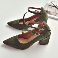 Pointed Toe Ankle Wrap Solid Color Low Chunky Heels