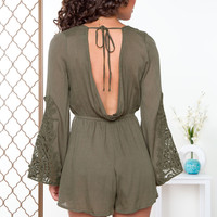Donna Lace Romper - Olive