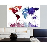 Large Canvas Art WORLD MAP and Wonders Paint Splash Splatter World Map Wall Art Canvas Painting