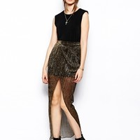 Jovonnista Paris Maxi Skirt with Thigh Split - Gold