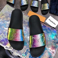 Louis Vuitton LV couple style colorful letter slippers Shoes