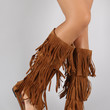 Suede Triple Layered Fringe Knee High Boot Sandal