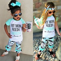 Toddler Kids Baby Girls Outfits Clothes T-shirt Tops+Pants/Jeans/Shorts 3PCS Set
