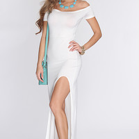 White Off The Shoulder Front Slit Sexy Maxi Dress
