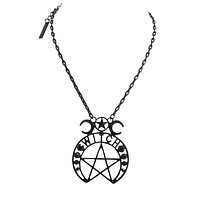 Witch Moon Pentagram and Crescent Moon Black Pendant Necklace