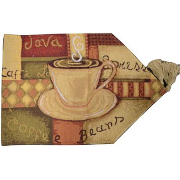 DaDa Bedding Smell of Coffee Cup Latte Java Brown Tapestry Table Runner Cloth (9912)