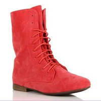 Rose Lace Up Suede Boots