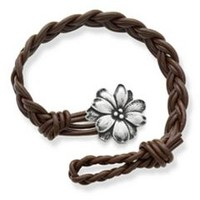 Dark Brown Woven Braided Leather Bracelet with Wildflower Clasp | James Avery