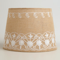Floral Embroidered Burlap Table Lamp Shade - World Market