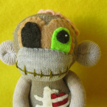 Baby Zombie Sock Monkey No. ZSJ32015-108 - Handmade Cute Horror Doll