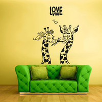 Wall Decals Decor Art Mural Sticker Love Hearts Bedroom Design Giraffe Couple (z1786)