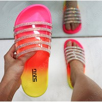 Fashion Woman Casual Rainbow Transparent Sandals Slippers Shoes
