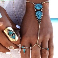 Turquoise Hand Chain Bracelet