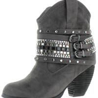 Not Rated By Naughty Monkey Womens Shawty Ankle Booties