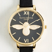 Bee There in a Minute Watch in Black & Gold | Mod Retro Vintage Watches | ModCloth.com