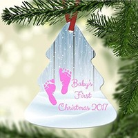 Baby's First Christmas Tree Ornament - Pink