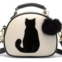 Fur Ball Cat Printed Women's Leather Handbag