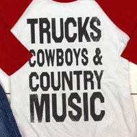 Trucks, cowboys and country music tee