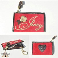 Juicy Couture Red Velour Coin Purse ID Holder