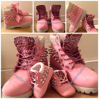 Custom Pink Timberlands (Toddler Kids & Women)