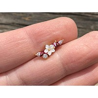 Gold Mother of Pearl Flower and CZ Cartilage Helix Stud Earring
