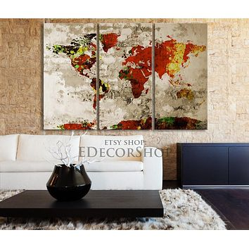 Orange Retro WORLD MAP Canvas Print on Old Paint Wall Vintage Large Size World Map Canvas
