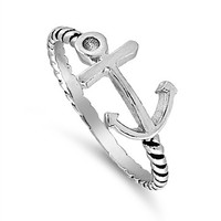 Anchor of My Soul Ring Sterling Silver 925 (Sizes 2-15)