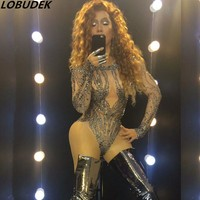 female costume Sexy Rompers stones Crystal one-piece jumpsuit bodysuit singer dancer party stage wear nightclub star show