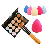 15 Colors Concealer Makeup Palette+ Wooden Handle Brush+Sponge Puff Makeup Set Base Foundation Face Cream Care Contouring