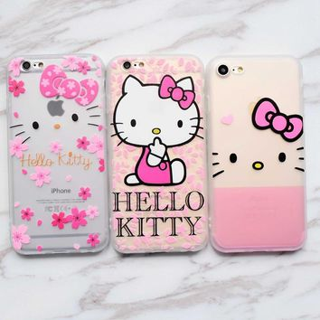Cartoon Cute Hello kitty soft Silicon case for iphone 6s 6 Plus 5s SE Full Body Protection coque For iphone 7 8 Plus X fundas