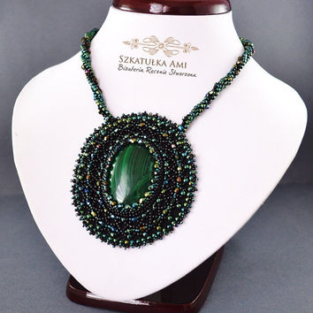 Necklace gree, Stone malachite necklace, embroidered beads, made crochet, glass beads, green, stone