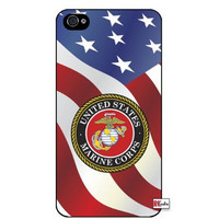 United States Marine Corps American Flag iPhone 5 Quality Hard Snap On Case for iPhone 5/5s - AT&T Sprint Verizon - Black Frame