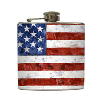 American Flag Whiskey Flask Painting Patriotic USA Red White Blue Groomsmen Gift Stainless Steel 8 oz or 6 oz Liquor Hip Flask LC-1005