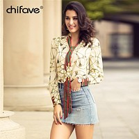 2018 chifave Women's Printed Flower Chiffon Shirt Top Casual Black Lady Office Long Sleeve Spring Plus Size Underwear 5XL Blouse