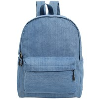 Saul's Denim Backpack for Women and Girls Casual Book Bag Sports Daypack School backpack Blue