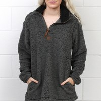 Snuggle is Real Sherpa Pullover w/ Pockets {Grey}