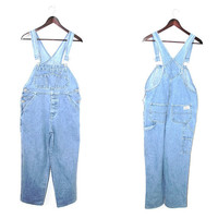 90s light wash denim overalls 1990s minimalist tapered light jean dungarees small