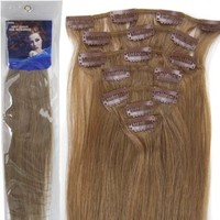 20''7pcs Fashional Clips in Remy Human Hair Extensions 24 Colors for Women Beauty Hot Sale (#12-light brown)