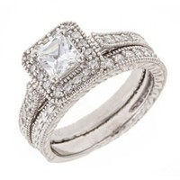 Vintage Engraved Cubic Zirconia CZ Engagement Ring Set in Sterilng Silver