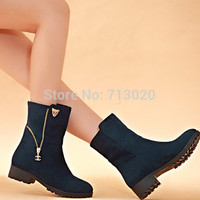 Women boots female spring and autumn women's martin boots flat vintage zip chains square heel motorcycle boots