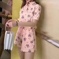 """Valentino"" Woman's Leisure  Fashion Letter Printing Lapel Short Sleeve Shorts Two-Piece Set Casual Wear"