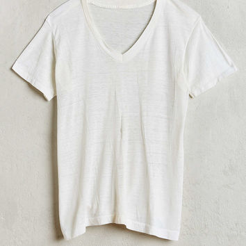 Vintage White Neck Tee - Urban Outfitters
