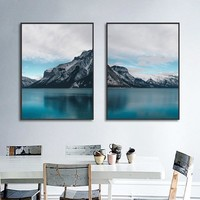 Nordic Lake and Mountains Landscape Canvas Painting Modular Wall Art Pictures Home Decoration Living Room Posters and Prints