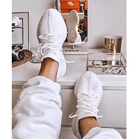 Samplefine2 Adidas Yeezy Boost 350 V2 Pure White Fashion Women Men Casual Running Sports Shoes Sneakers